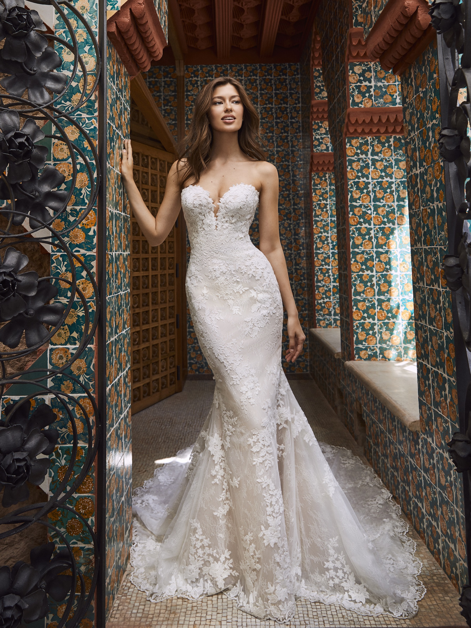 Strapless Sweetheart All Over Lace Fit And Flare Wedding Dress With Chapel Train Kleinfeld Bridal
