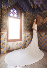 Strapless V-neck Crepe Wedding Dress With Beading And Embroidery And Chapel Train by Pronovias x Kleinfeld - Image 2