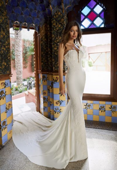 Strapless V-neck Crepe Wedding Dress With Beading And Embroidery And Chapel Train by Pronovias x Kleinfeld