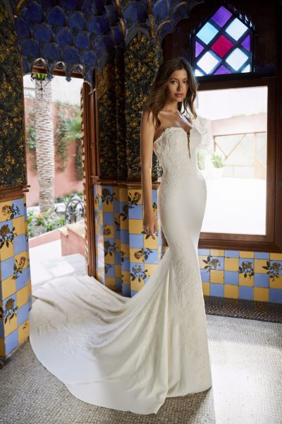 Strapless V-neck Crepe Wedding Dress With Beading And Embroidery And Chapel Train by Pronovias x Kleinfeld - Image 1