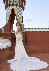 Strapless V-neck Lace Wedding Dress With Chiffon Godets And Nude Lining by Pronovias x Kleinfeld - Image 2