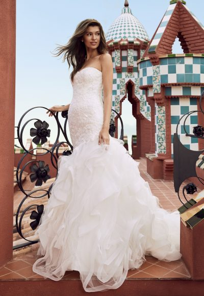 Sweetheart Strapless Lace Bodice Mermaid Wedding Dress With Ruffled Tulle Skirt by Pronovias x Kleinfeld
