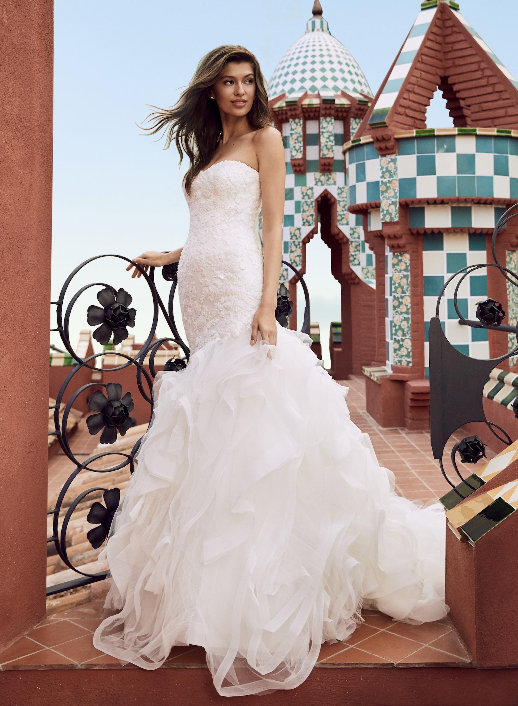 Sweetheart Strapless Lace Bodice Mermaid Wedding Dress