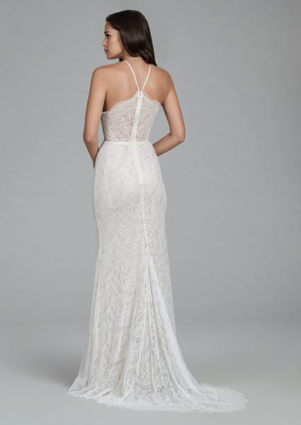 Halter Neckline Chantilly Lace Sheath Wedding Dress With Scalloped Back And Sweep Train by Tara Keely - Image 2