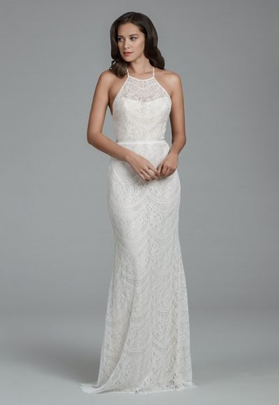Halter Neckline Chantilly Lace Sheath Wedding Dress With Scalloped Back And Sweep Train by Tara Keely