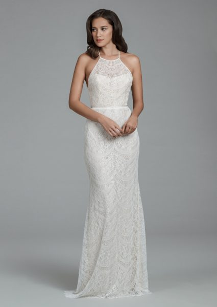 Halter Neckline Chantilly Lace Sheath Wedding Dress With Scalloped ...