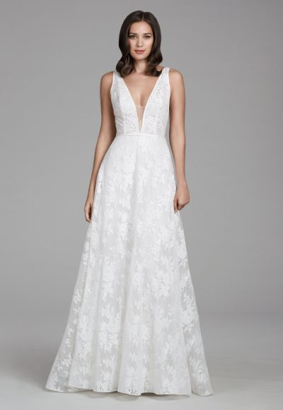 Sleeveless Chantilly And Illusion Net A-line Wedding Dress With V-neck And V-back Detailing by Tara Keely