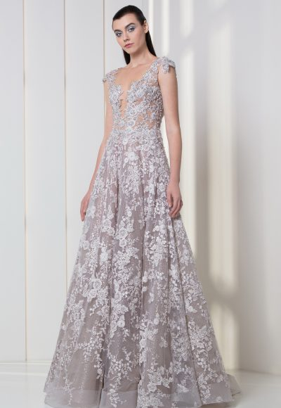 Cap Sleeve Illusion V-neck A-line Wedding Dress by Tony Ward