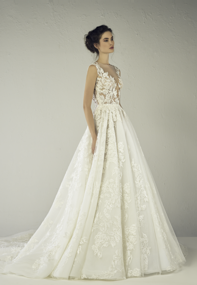 Sleeveless Beaded Lace V-neck A-line Wedding Dress by Tony Ward