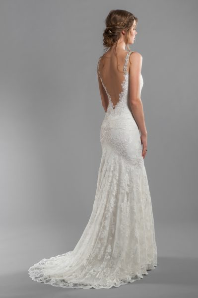 Spaghetti Strap V-Neckline Beaded and Embroidered Lace Mermaid Wedding Dress by Olvi's - Image 2