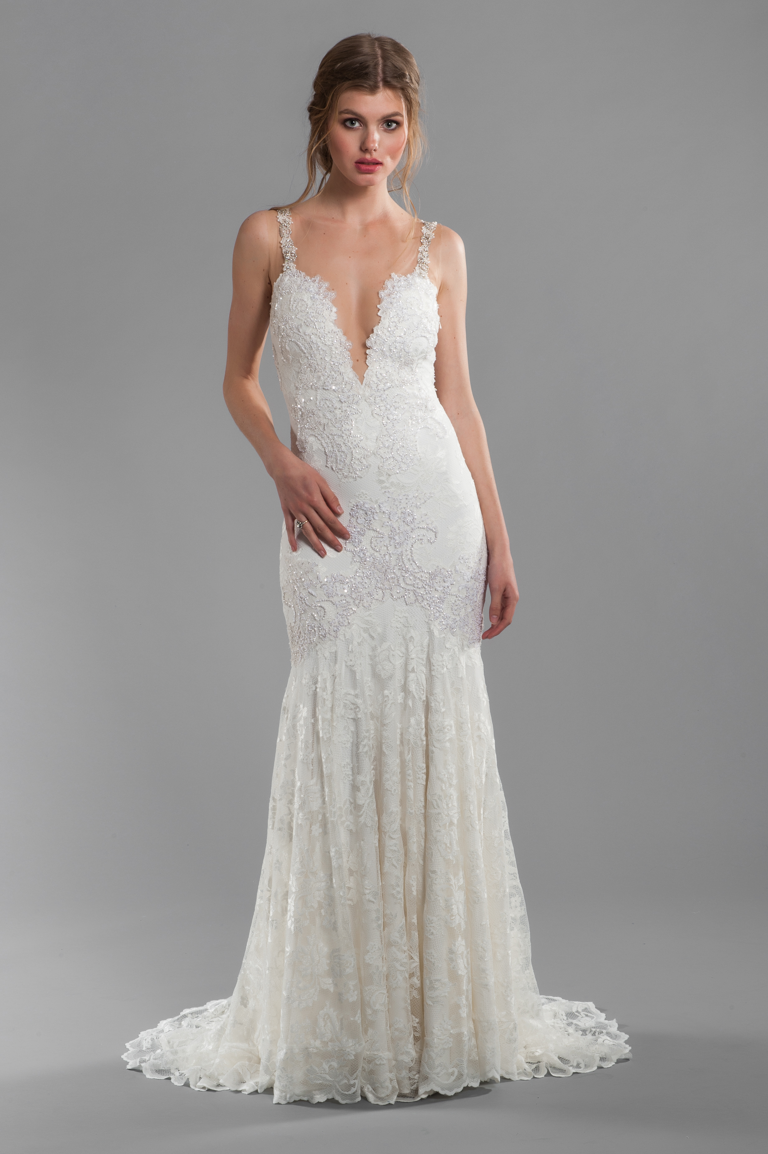 Spaghetti Strap V Neckline Beaded And Embroidered Lace Mermaid