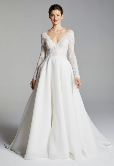 Long Sleeve V-neck Beaded Lace Bodice A-line Wedding Dress by Anne Barge