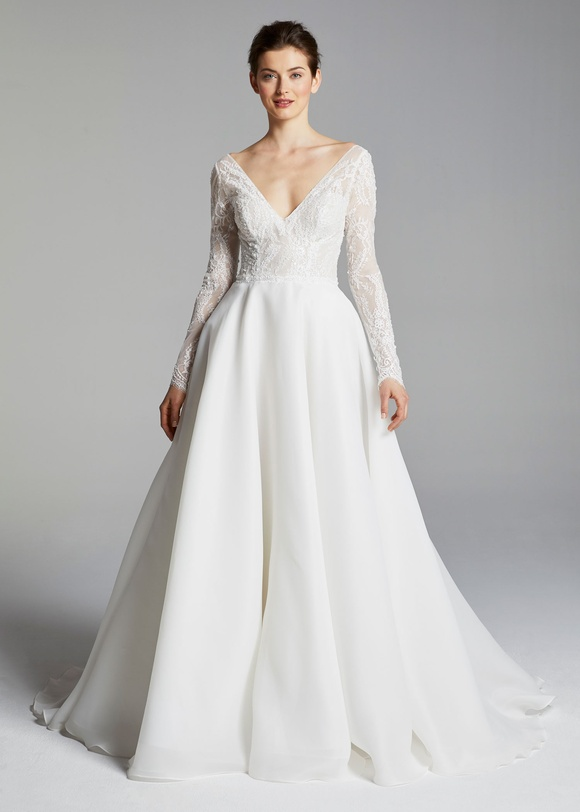 Long Sleeve V Neck Beaded Lace Bodice A Line Wedding Dress