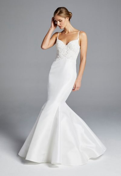 Spaghetti Strap Lace Bodice Sweetheart Neck Fit And Flare Wedding Dress by Anne Barge