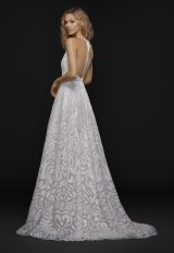 Spaghetti Strap Plunging V-neck Fully Beaded A-line Wedding Dress by BLUSH by Hayley Paige - Image 2