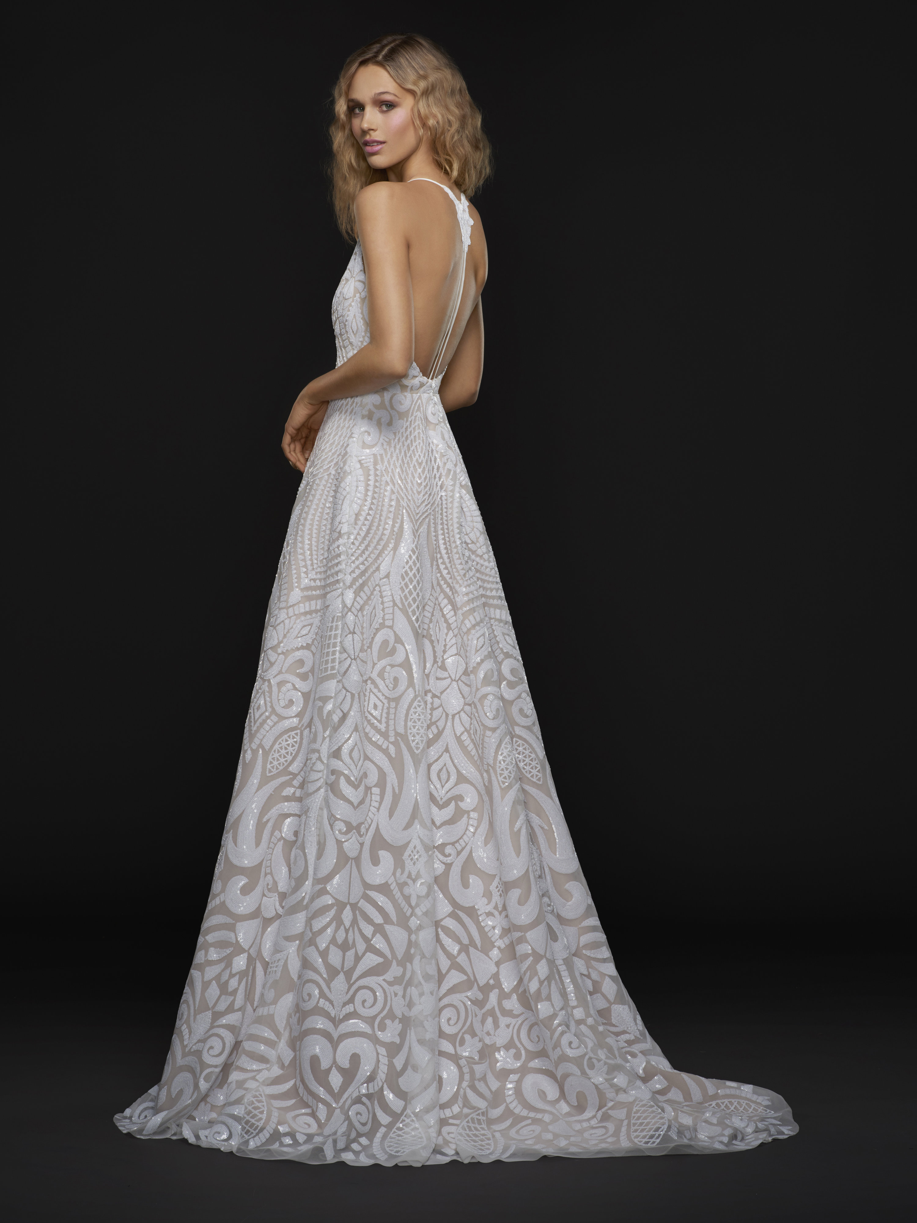 Spaghetti Strap Plunging V-neck Fully Beaded A-line Wedding Dress ...