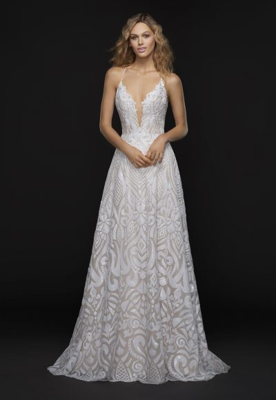 Spaghetti Strap Plunging V-neck Fully Beaded A-line Wedding Dress by BLUSH by Hayley Paige