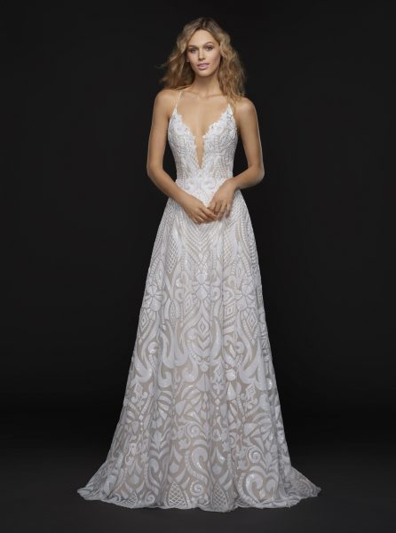 Spaghetti Strap Plunging V-neck Fully Beaded A-line Wedding Dress by BLUSH by Hayley Paige - Image 1