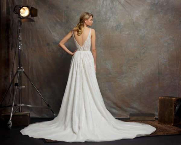 V-neck Sleeveless Sequin A-line Wedding Dress by Enaura Bridal - Image 2