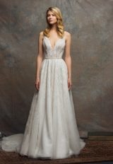 V-neck Sleeveless Sequin A-line Wedding Dress by Enaura Bridal - Image 1