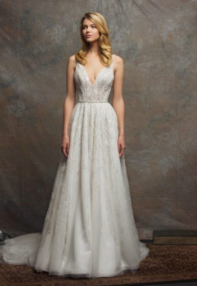 V-neck Sleeveless Sequin A-line Wedding Dress by Enaura Bridal