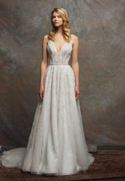 V-neck Sleeveless Sequin A-line Wedding Dress by Enaura Bridal