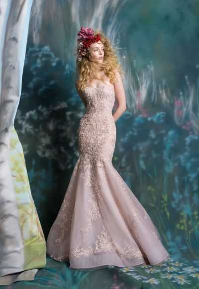 Strapless Embroidered Fit And Flare Wedding Dress by Isabelle Armstrong