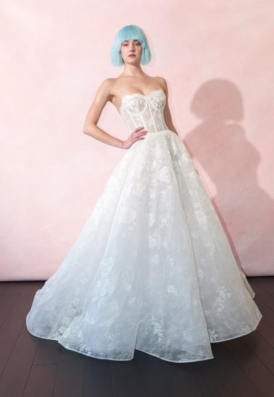 Sweetheart Neckline Sheer Bodice Lace Ball Gown Wedding Dress by Isabelle Armstrong