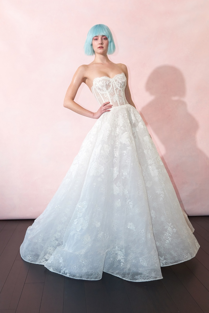 Sweetheart Neckline Sheer Bodice Lace Ball Gown Wedding Dress ...