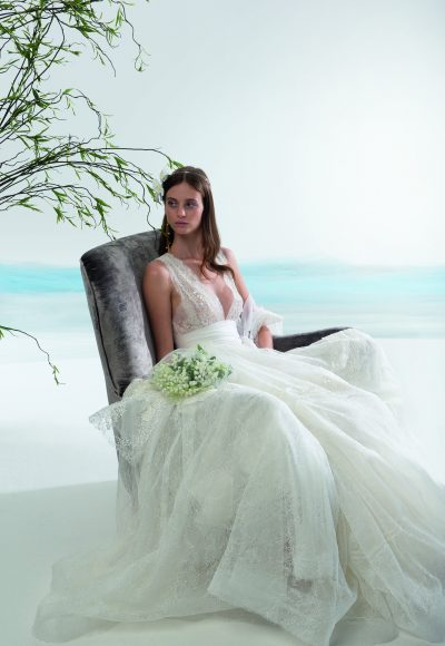 Sleeveless V Neck A Line Lace Wedding Dress By Le Spose Di Gio