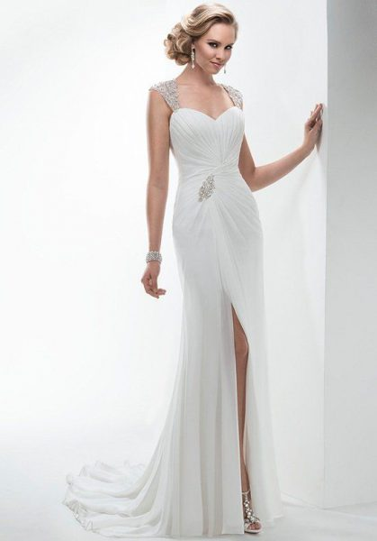 Beaded Cap Sleeves Ruched Bodice Sheath Wedding Dress With Slit by Maggie Sottero - Image 1