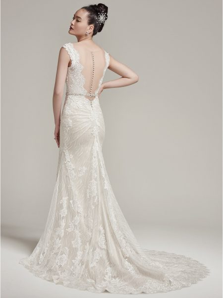 Cap Sleeve Scalloped V-neck Open Back Lace Sheath Wedding Dress by Maggie Sottero - Image 2