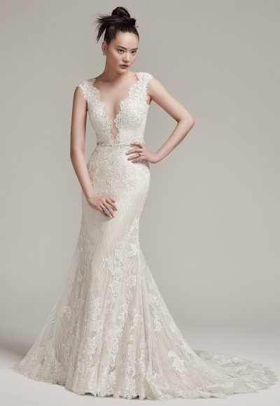 Cap Sleeve Scalloped V-neck Open Back Lace Sheath Wedding Dress by Maggie Sottero