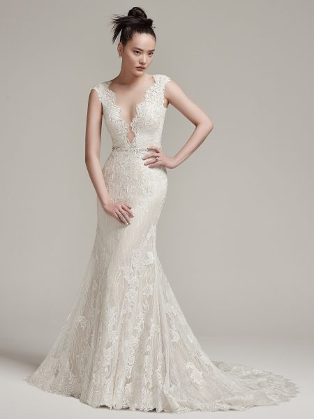 Cap Sleeve Scalloped V Neck Open Back Lace Sheath Wedding Dress By Maggie Sottero