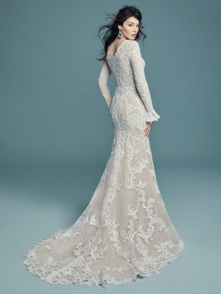 Long Sleeved Scoop Neckline Lace Fit And Flare Wedding Dress by Maggie Sottero - Image 2