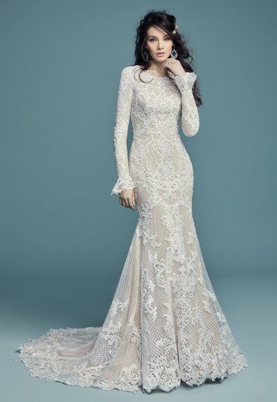 Long Sleeved Scoop Neckline Lace Fit And Flare Wedding Dress by Maggie Sottero