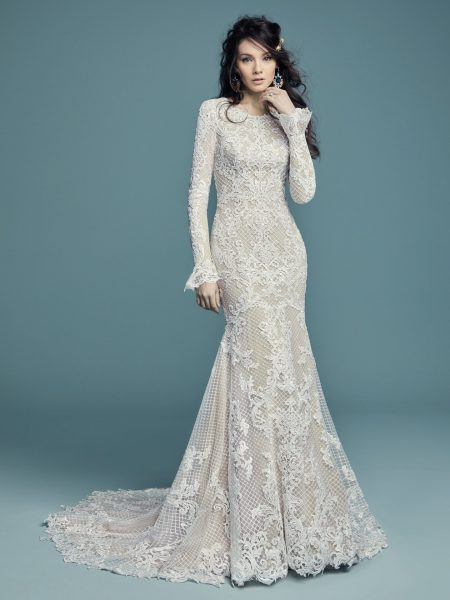 Long Sleeved Scoop Neckline Lace Fit And Flare Wedding Dress By Maggie Sottero Image 1