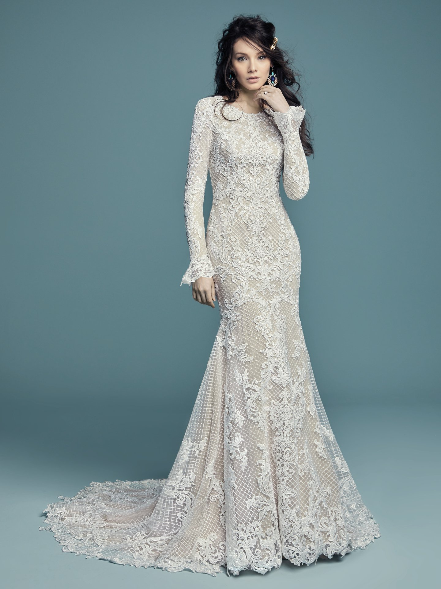 Long Sleeved Scoop Neckline Lace Fit And Flare Wedding Dress ...