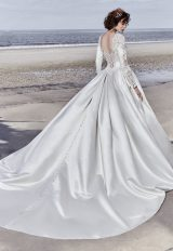 Long Sleeved V-neck Crystaled Lace And Satin Ball Gown Wedding Dress by Maggie Sottero - Image 2