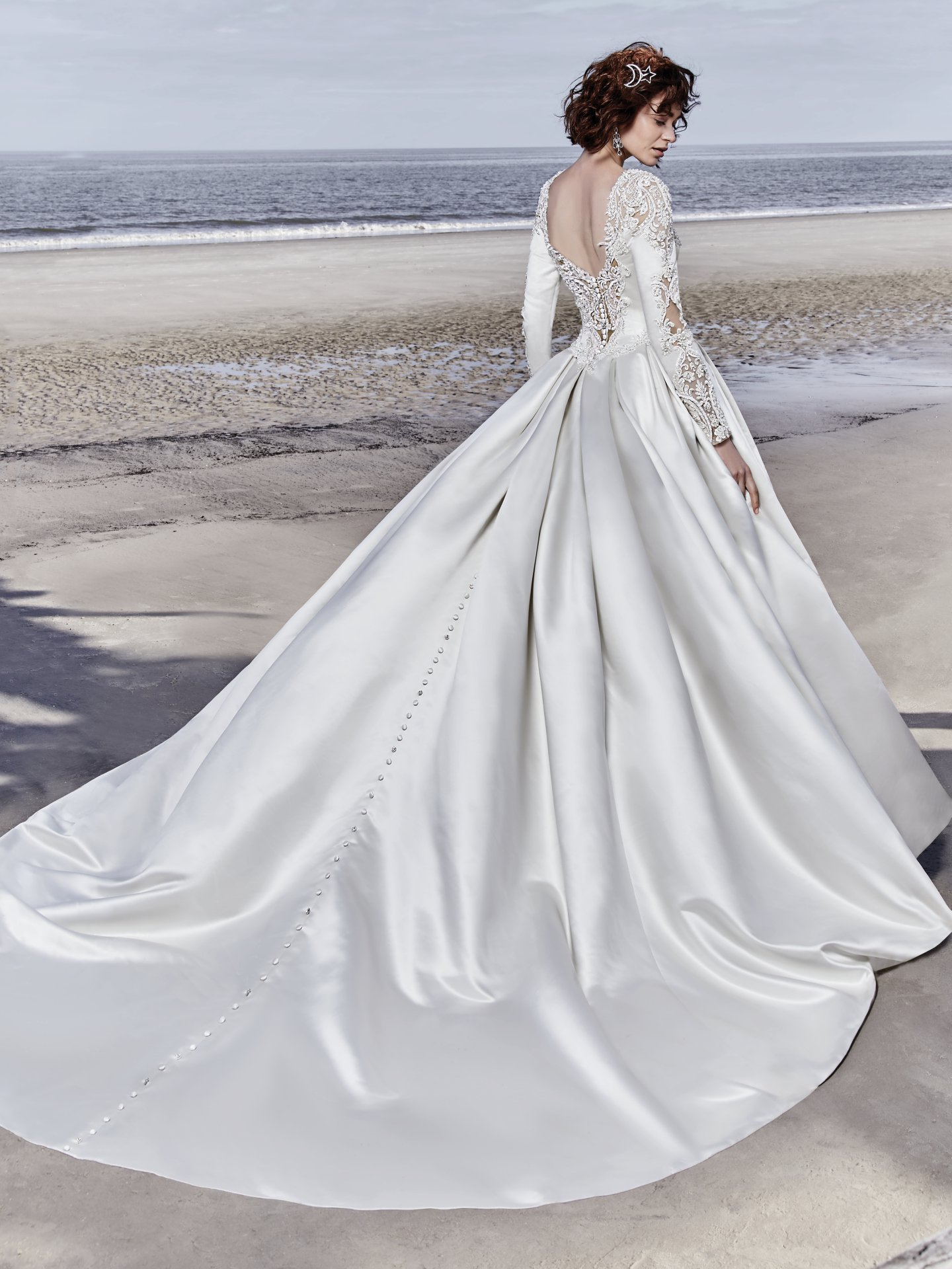 Long Sleeved V-neck Crystaled Lace And Satin Ball Gown Wedding Dress ...