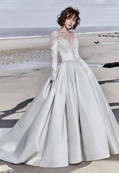 Long Sleeved V-neck Crystaled Lace And Satin Ball Gown Wedding Dress by Maggie Sottero