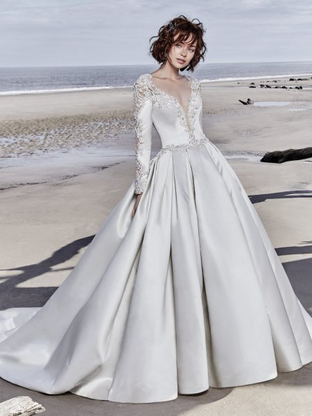 Long Sleeved V-neck Crystaled Lace And Satin Ball Gown Wedding Dress by Maggie Sottero - Image 1
