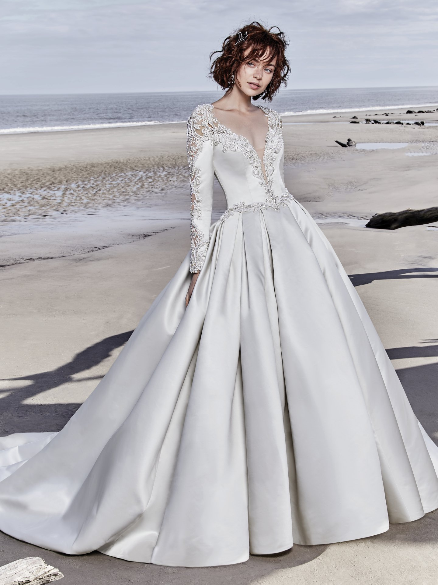 Long Sleeved V-neck Crystaled Lace And Satin Ball Gown ...