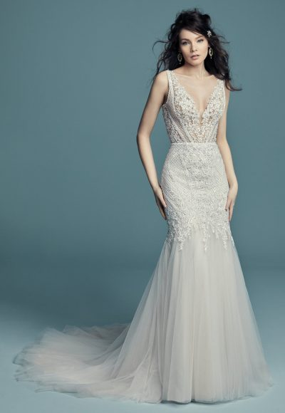 Sleeveless V-neck Beaded Vintage Inspired Fit And Flare Wedding Dress by Maggie Sottero