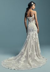 Spaghetti Strap Plunging Sweetheart Neckline Beaded Lace Fit And Flare Wedding Dress by Maggie Sottero - Image 2