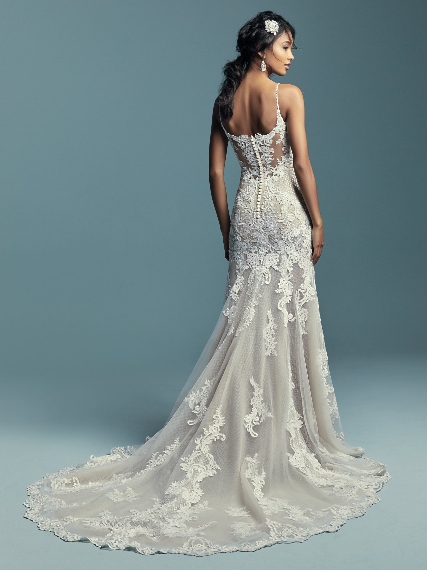 Spaghetti Strap Plunging Sweetheart Neckline Beaded Lace