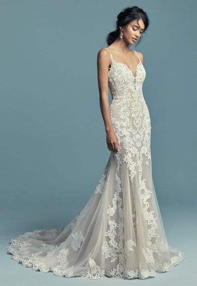 Spaghetti Strap Plunging Sweetheart Neckline Beaded Lace Fit And Flare Wedding Dress by Maggie Sottero