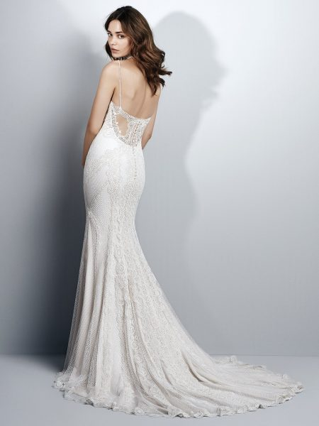 Spaghetti Strap Sweetheart Neck Lace Sheath Wedding Dress by Maggie Sottero - Image 2