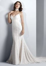 Spaghetti Strap Sweetheart Neck Lace Sheath Wedding Dress by Maggie Sottero - Image 1