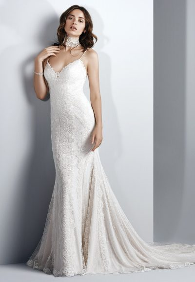 Spaghetti Strap Sweetheart Neck Lace Sheath Wedding Dress by Maggie Sottero